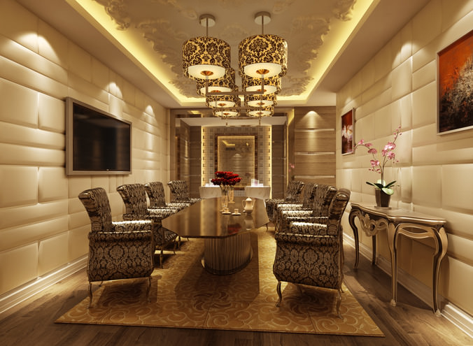 Luxury Conference Room 3D Model max CGTradercom