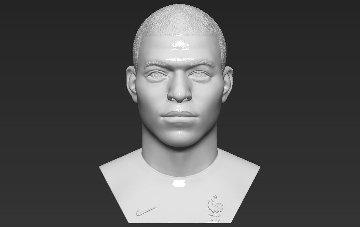 Kylian Mbappe bust 3D printing ready stl obj formats