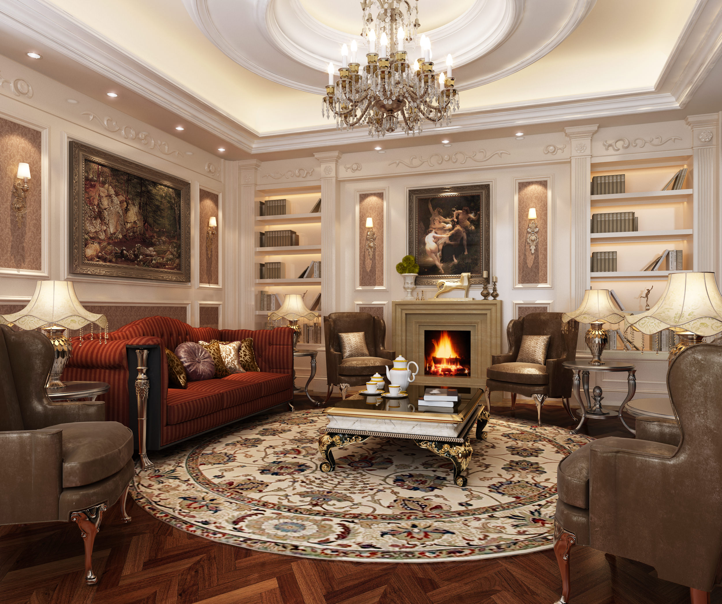 Chic Living Room Furniture Classic Style living room in french style Classic Style Living Room 3d Model Max Cgtradercom