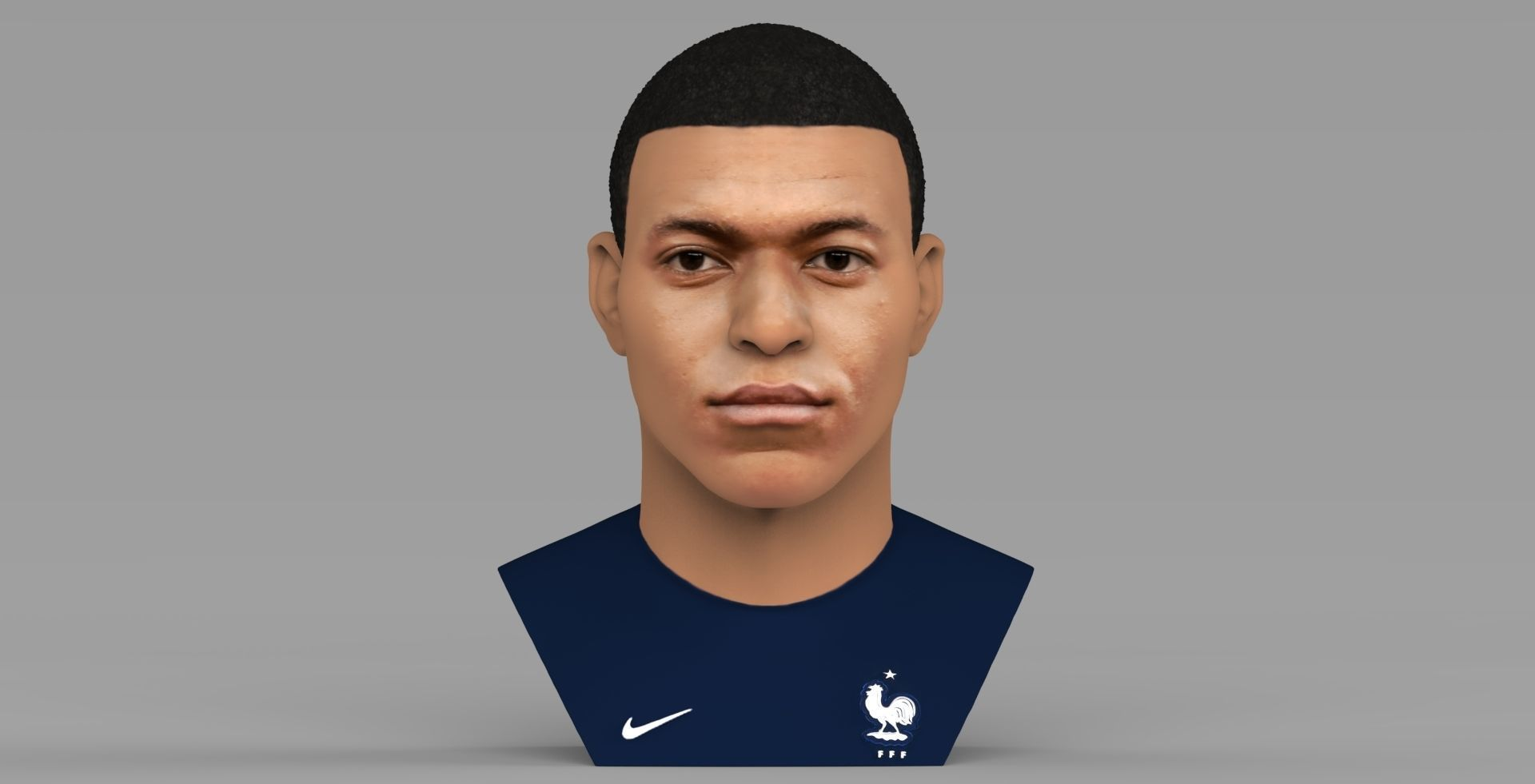 Kylian Mbappe bust ready for full color 3D printing