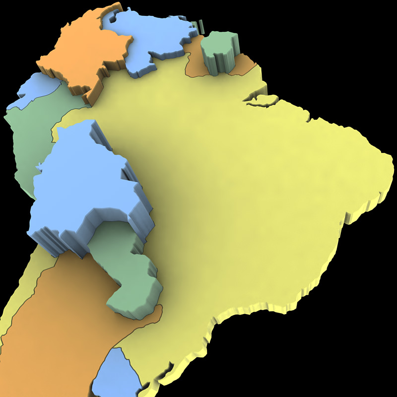 D Model South America Map CGTrader - South america map labeled