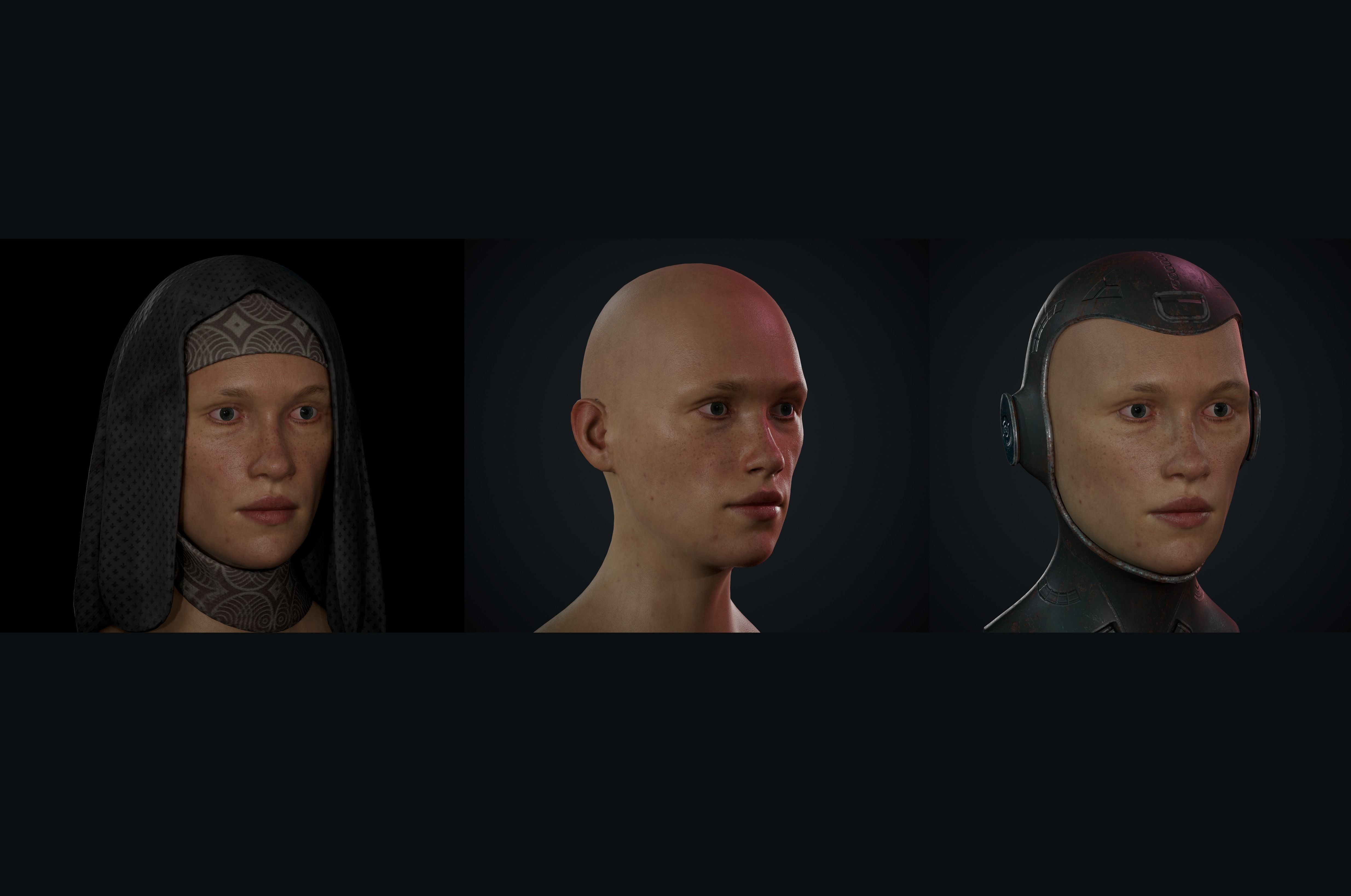 Woman Realistic Busts Game Ready