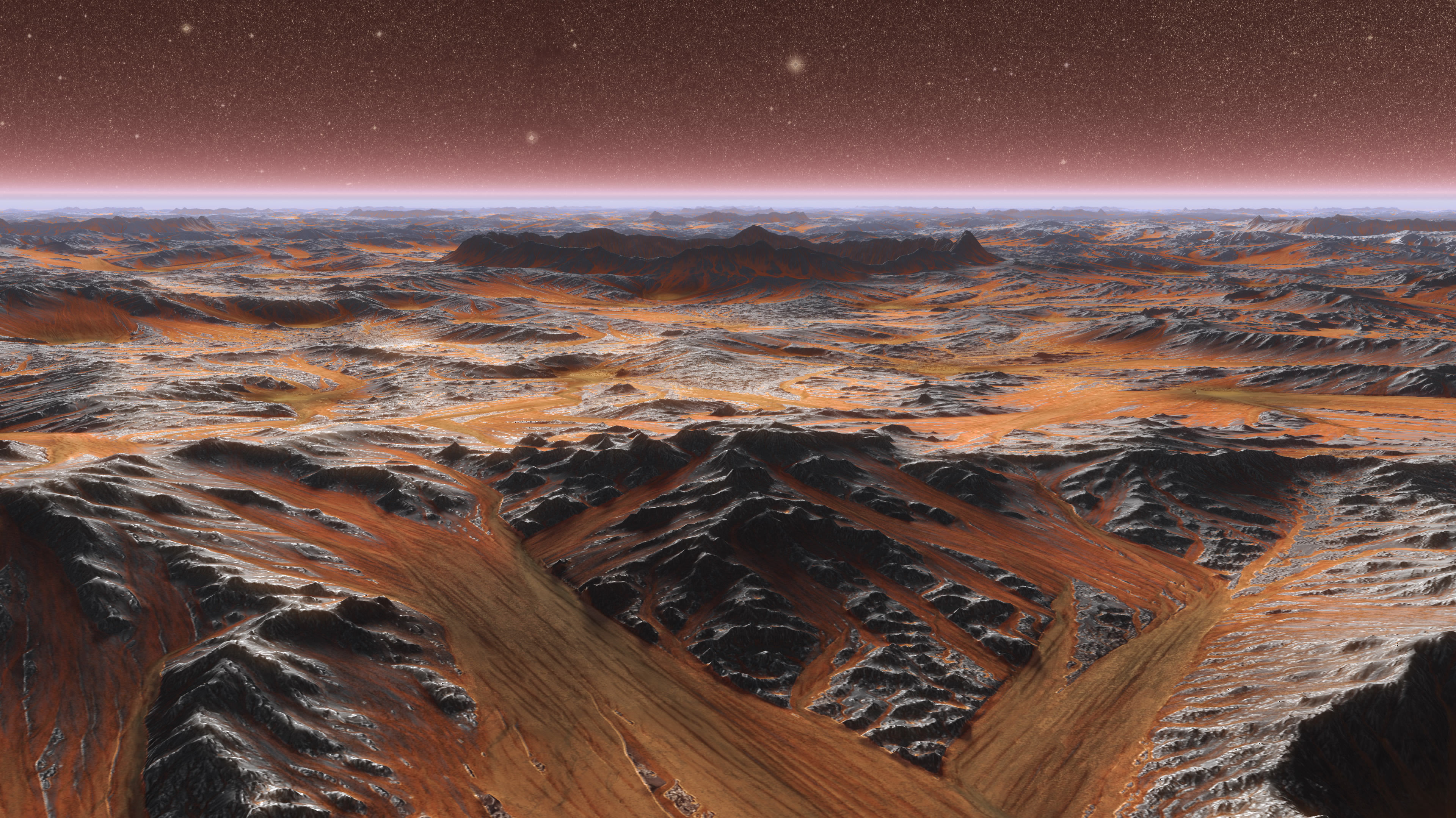 Mars Plate with crater in center  realistic 3d scene PBR