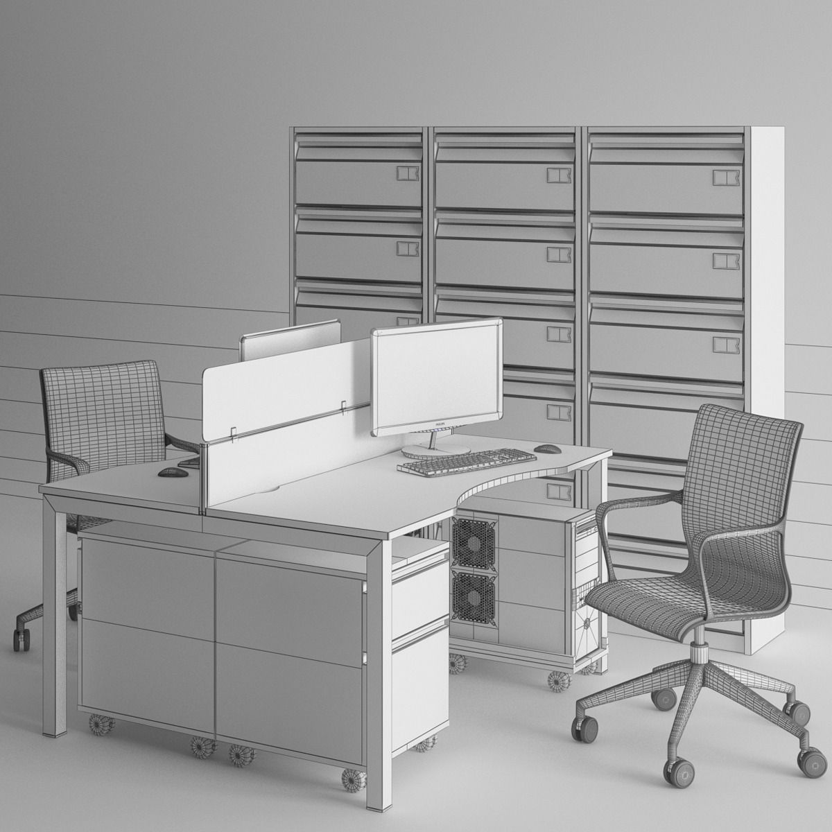 Perfect Office Furniture Set Table Chairs Shelves 3D Model OBJ  CGTradercom