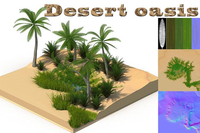 desert oasis 3d model low-poly max 1