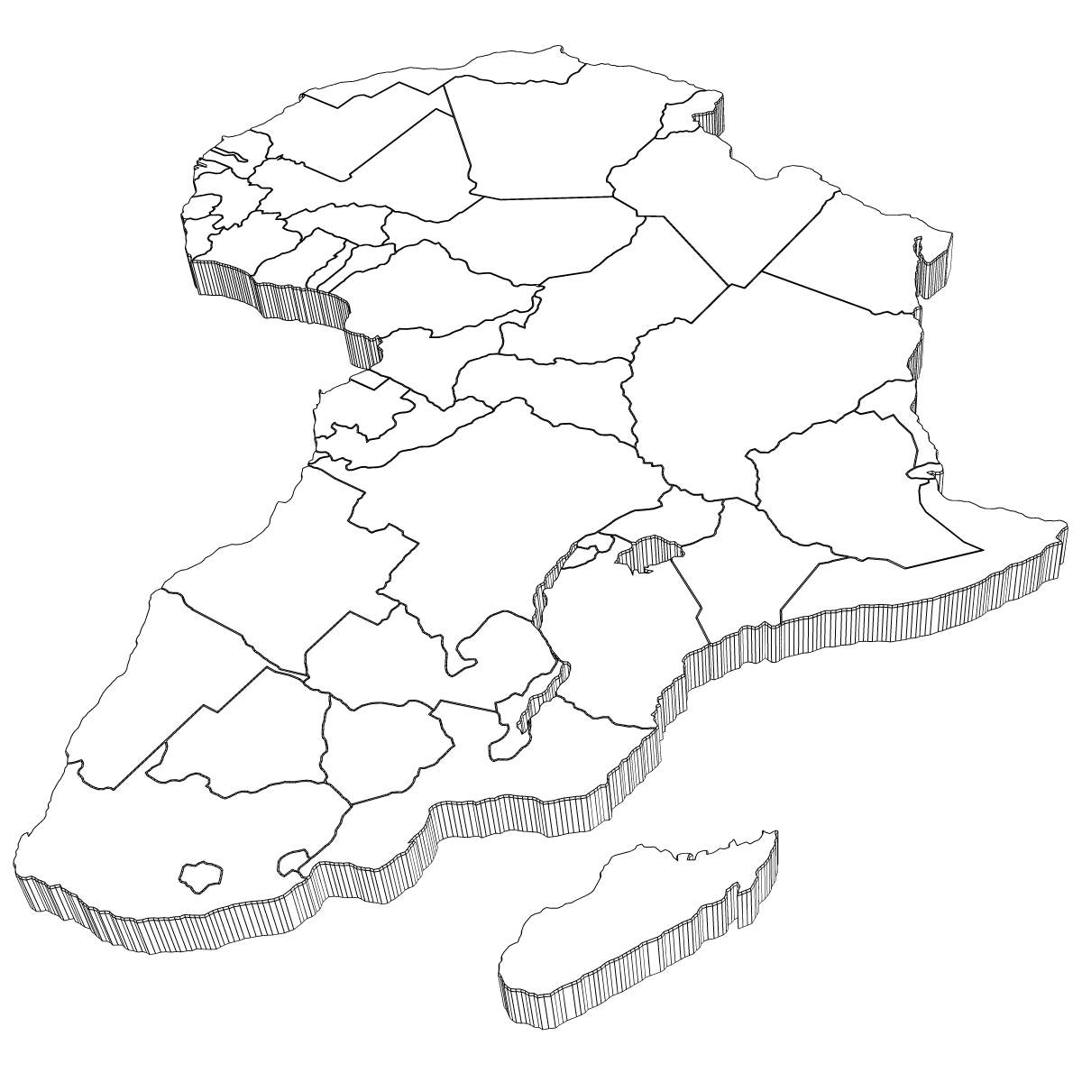Map Of Africa Drawing.3d Africa Map Map Of Africa
