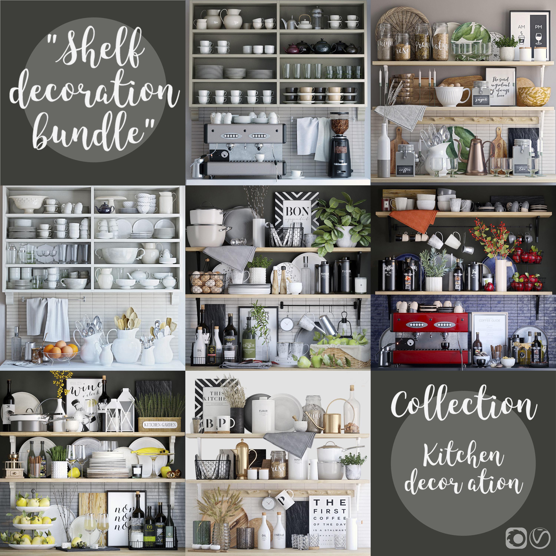 3d Kitchen Shelves Decor Set Cgtrader