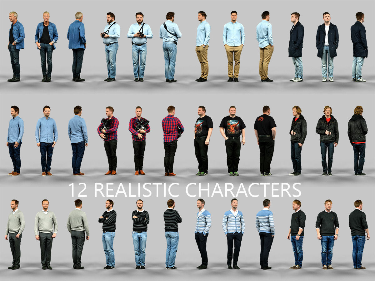 12 Realistic Male Characters 3D Model .obj - CGTrader.com