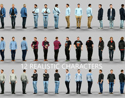 12 Realistic Male Characters 3D Model