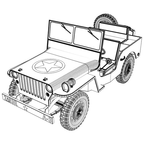 Line Drawing Jeep : Willys jeep d model obj ds stl cgtrader