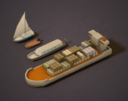 Pack of low poly Boats 3D asset realtime