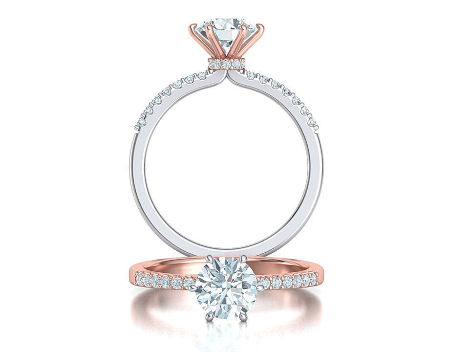 Engagement ring  1CT stone Six-prong Solitaire ring 3dmodel
