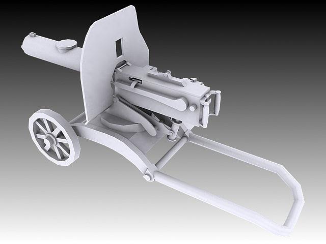 1910 maxim machine gun 3d model max obj 3ds stl wrl wrz 6