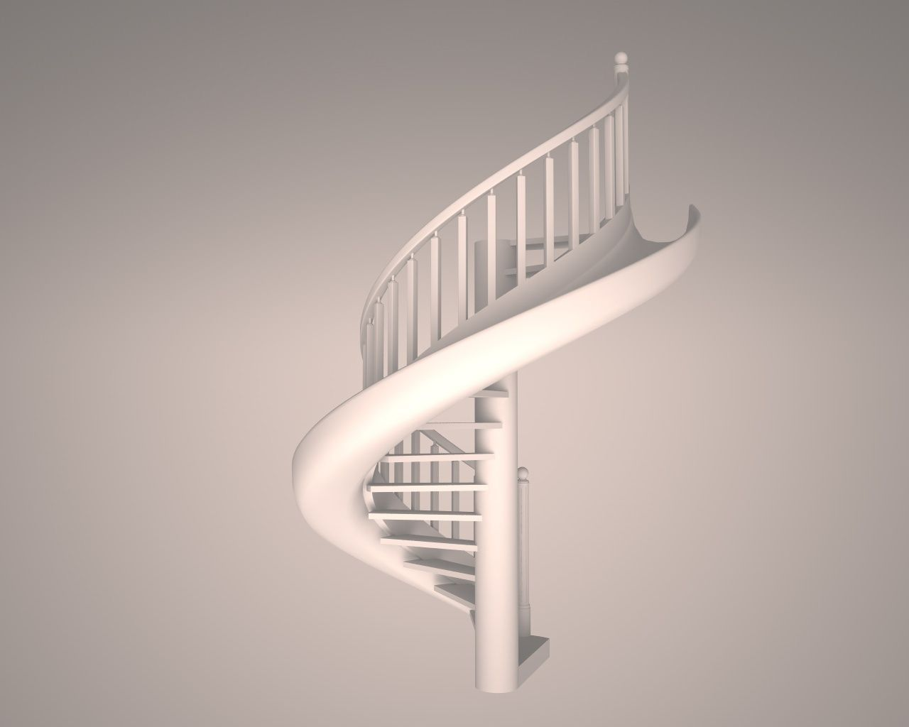 ... Wooden Spiral Staircase 3d Model Obj Mtl 3ds Fbx C4d 3 ...