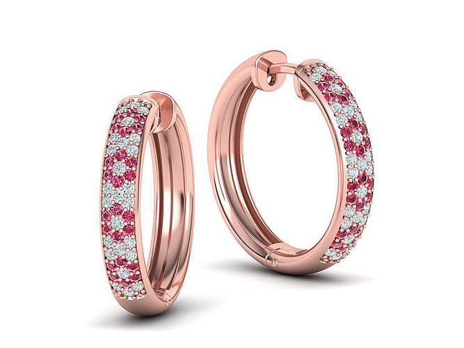Diamond Hoop Earrings 22mm round earrings 3dmodel