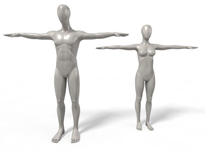 Faceless Mannequins T Poses setup