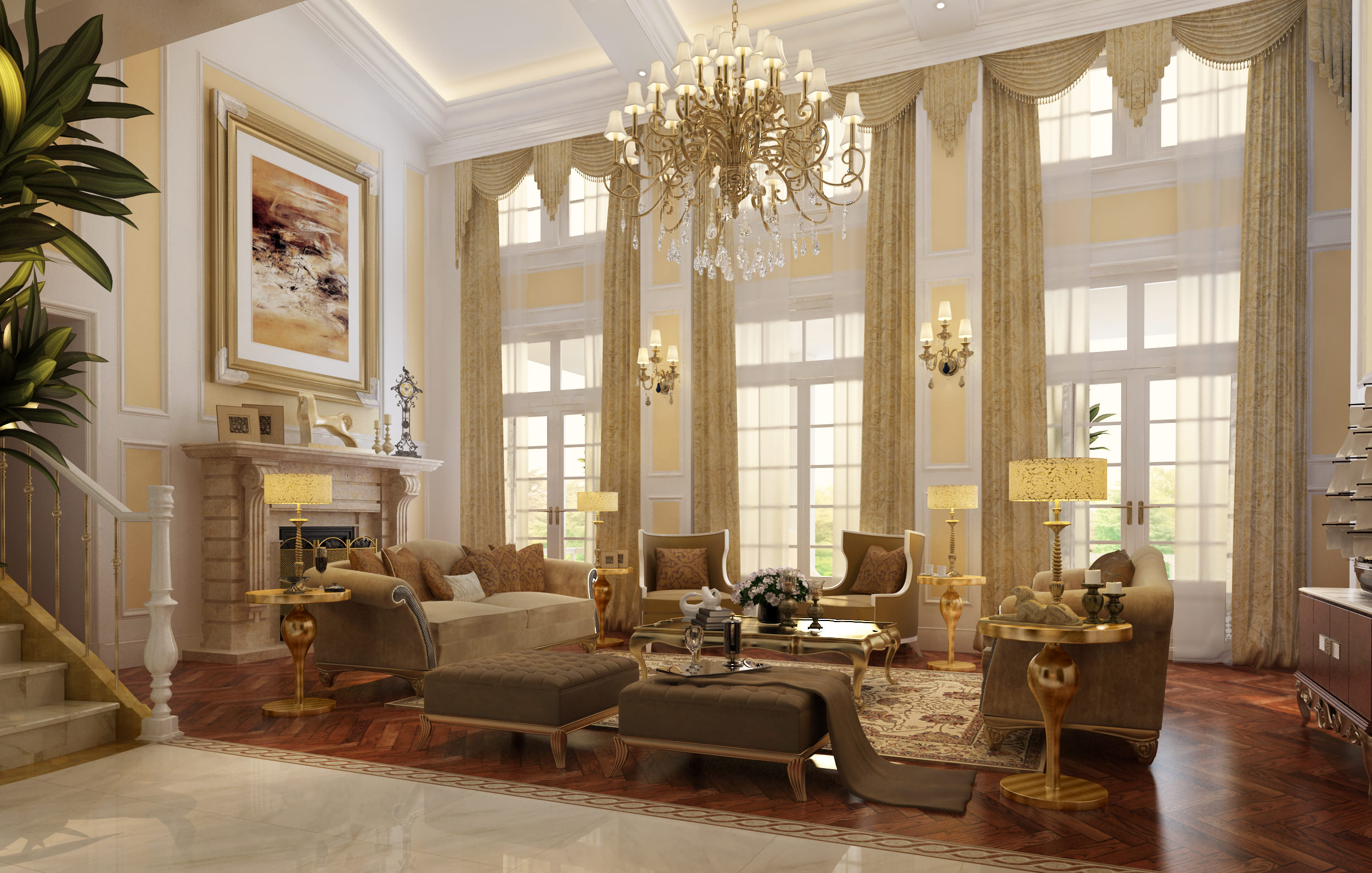 Luxury living room with fireplace 3d model max Luxury fireplaces luxury homes