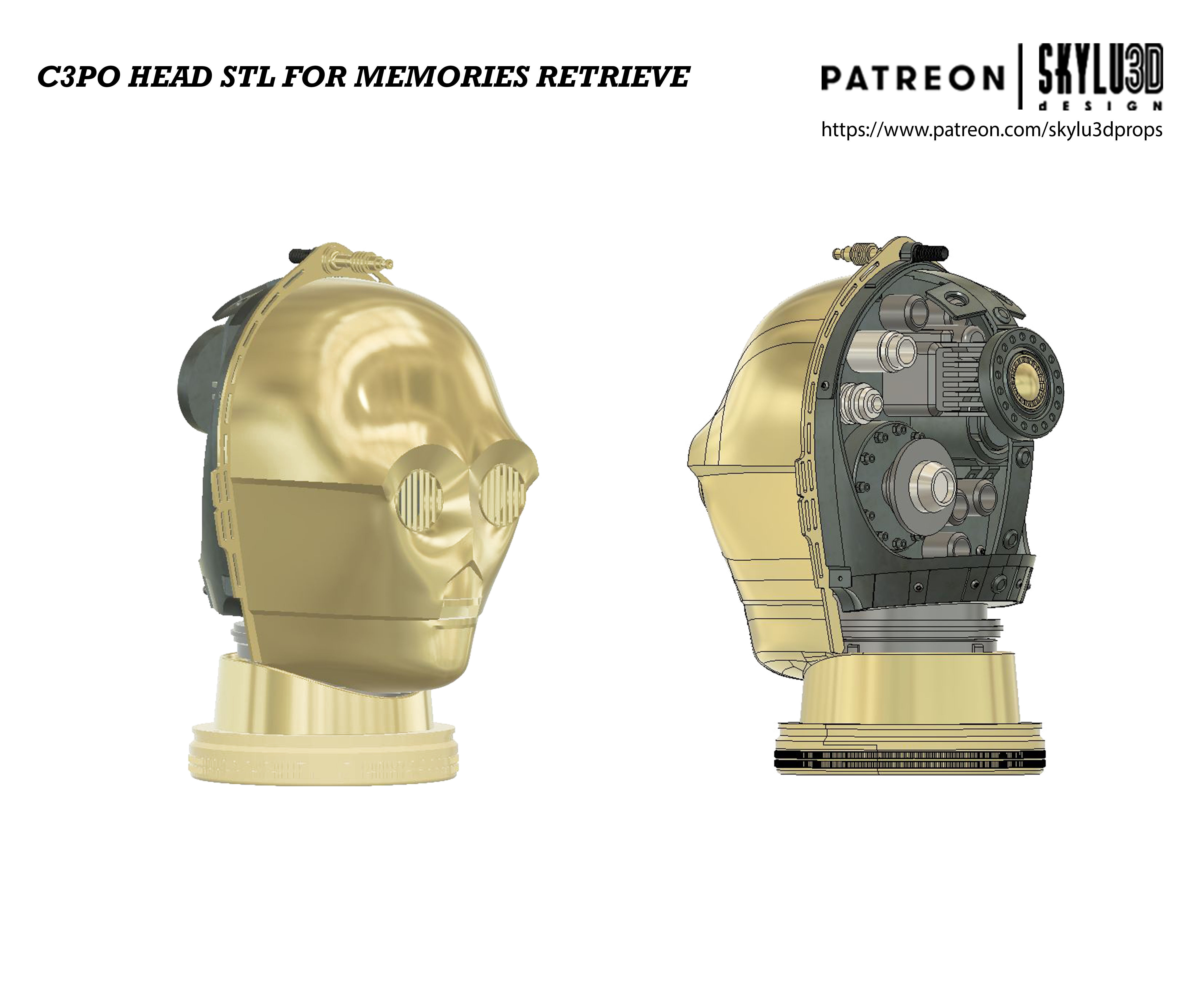 C3PO Memories Retrieve Head Life size STL