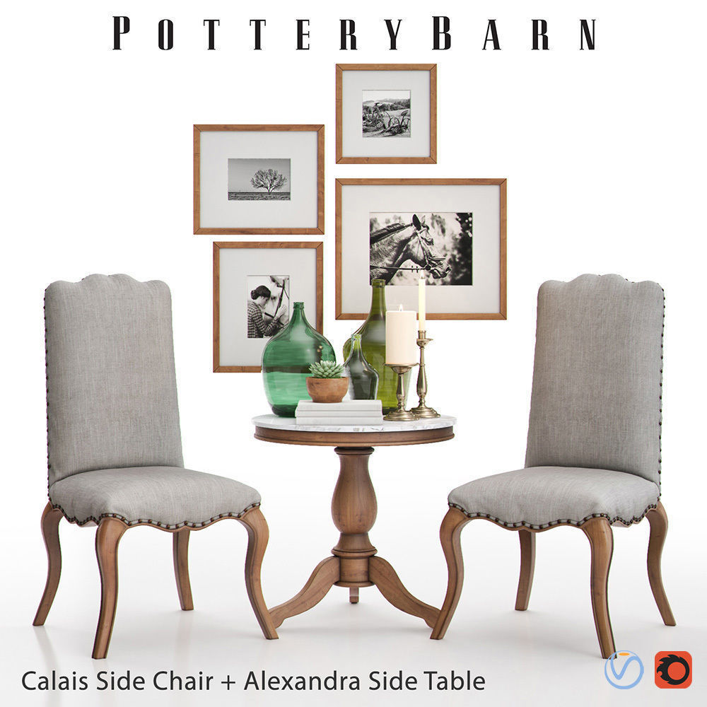 3d Calais Side Chair With Alexandra Side Table Cgtrader