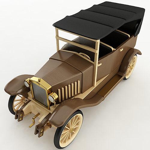 Vintage Wood Car 3D