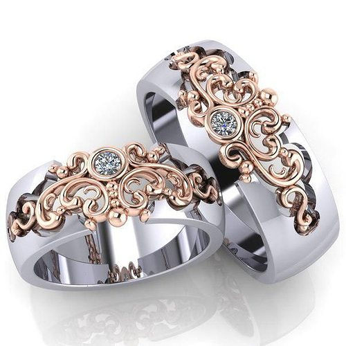 beautiful wedding bands with stones  3d model stl 3dm 1