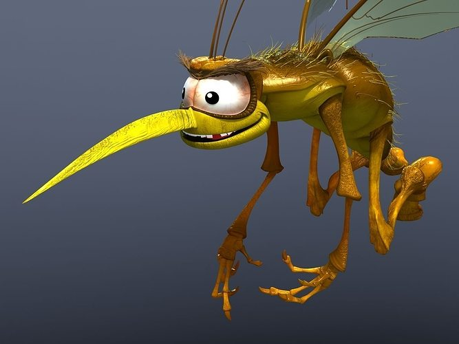 mosquito cartoon 3d model max obj fbx 1