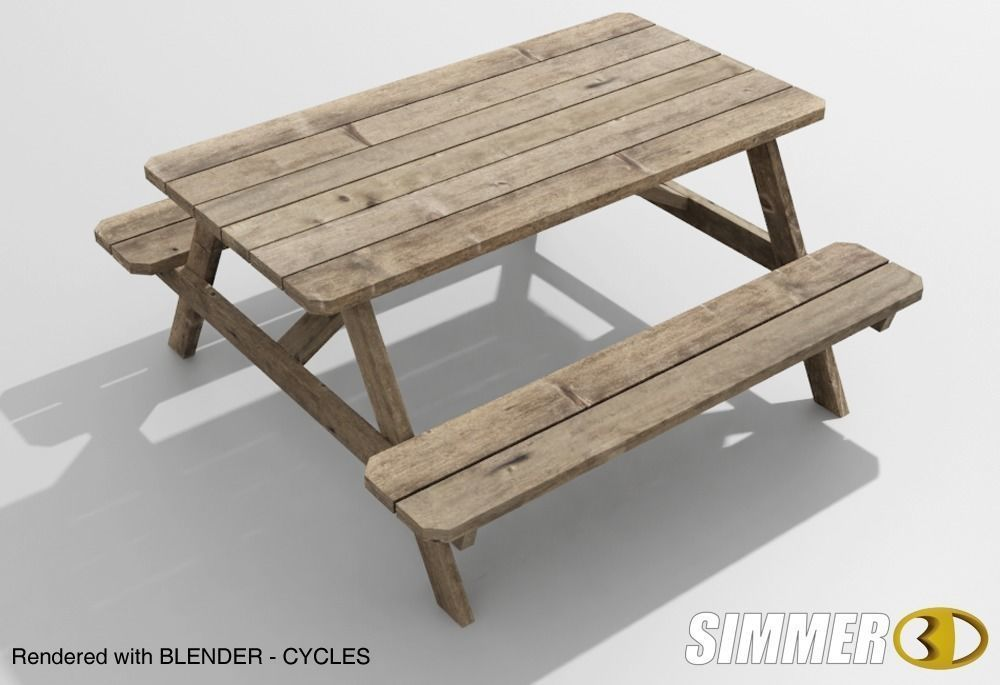 Weathered Wooden Picnic Table