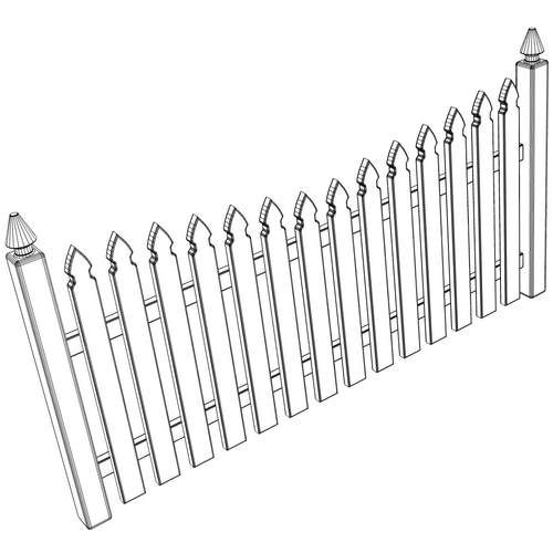 gothic spaced picket fence 3d model  max  obj  3ds  wrl