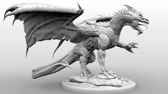 White Dragon - Gargantuan Miniature - High Resolution