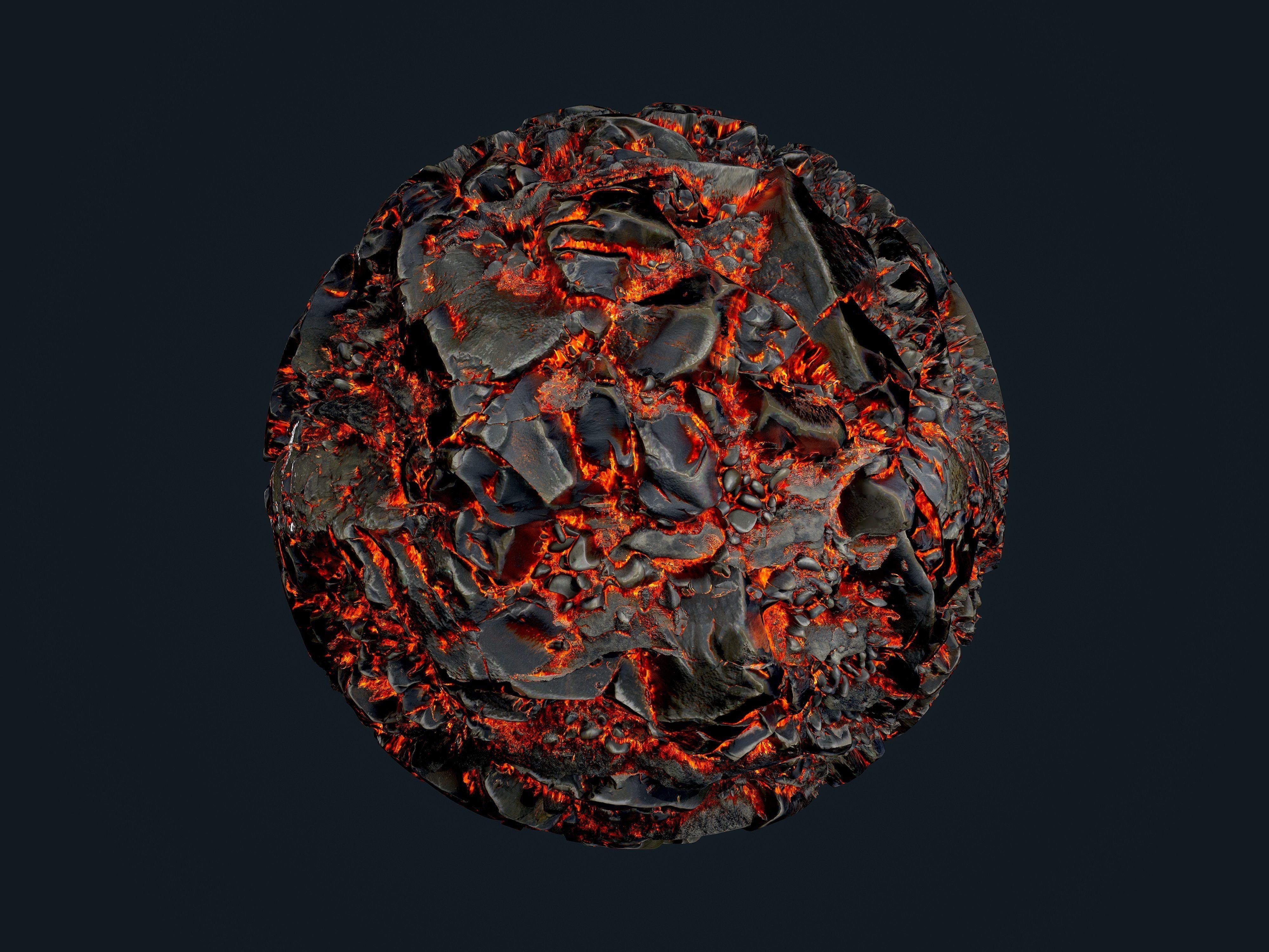 Lava Ground Seamless PBR Texture 10