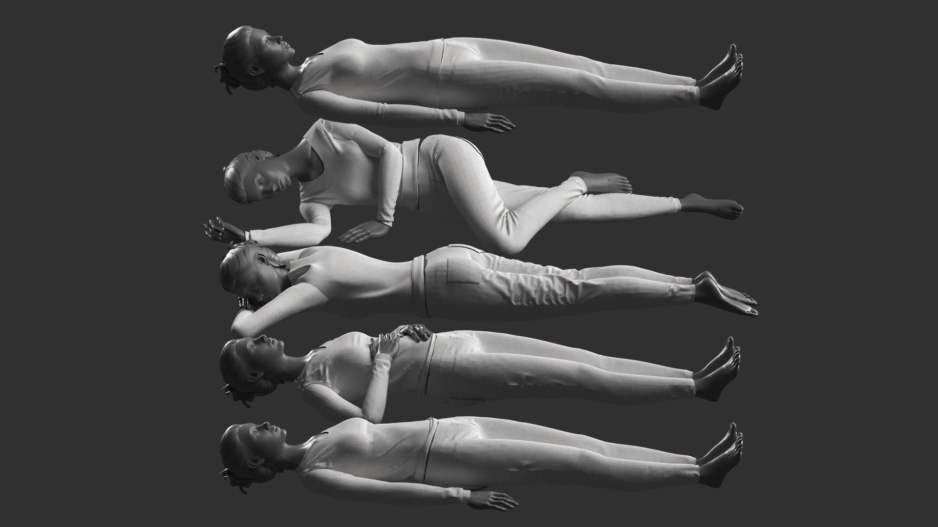 Woman Mannequin Lying 5 Poses