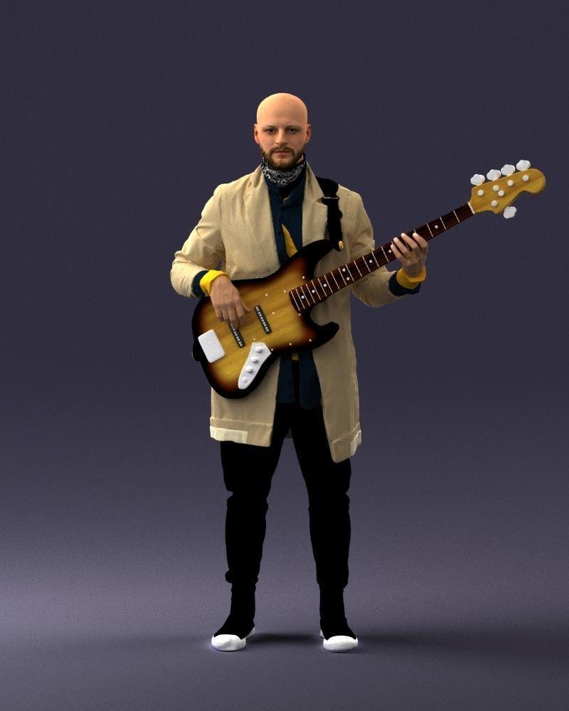Musician bass guitar player 0118-2 3D Print Ready