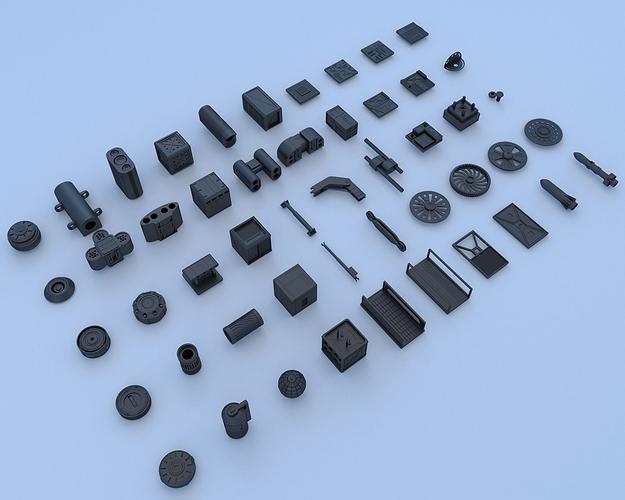 technical parts collection 3 3d model obj mtl 3ds fbx blend dae 1