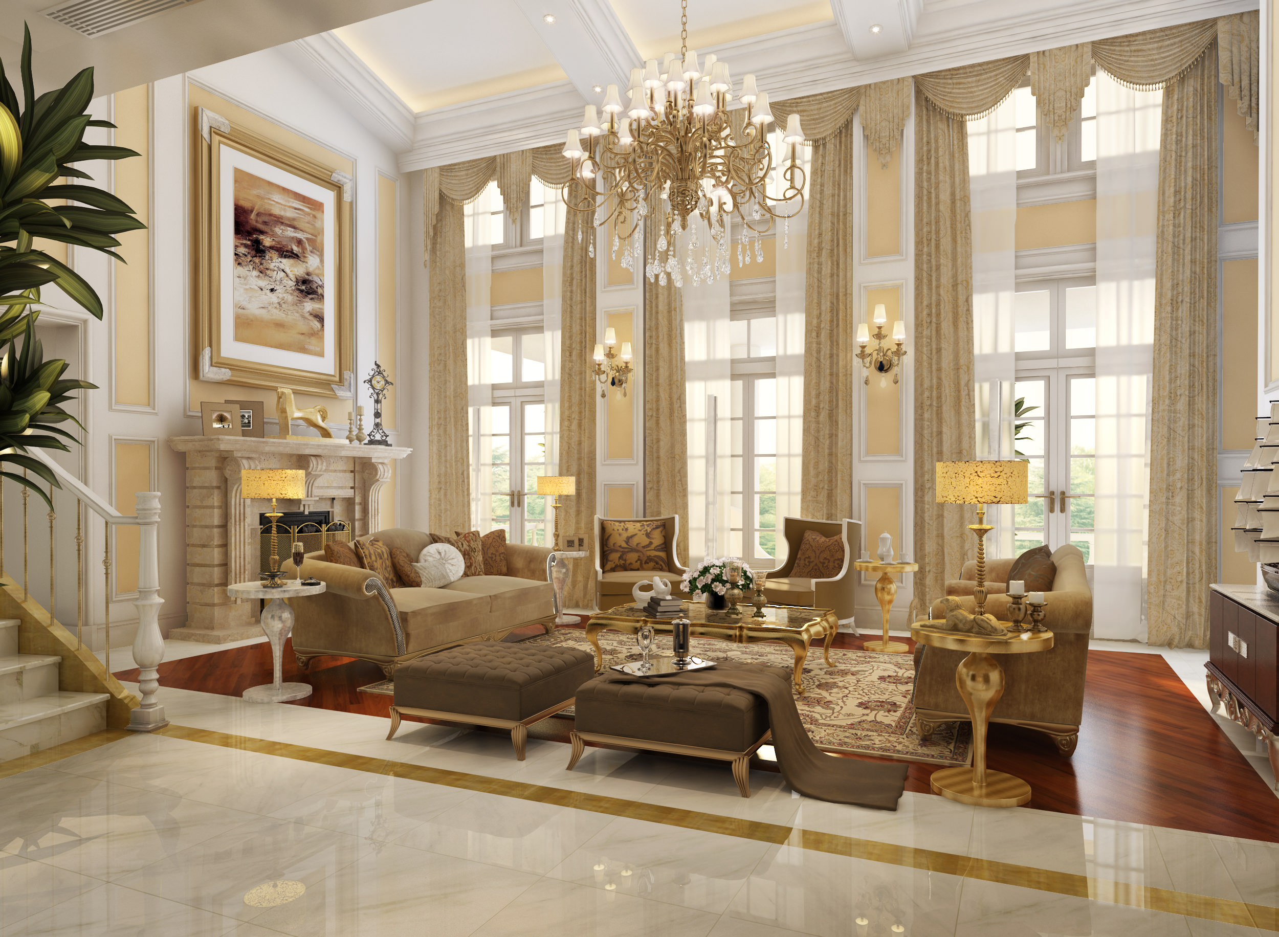 Living Room 3d Model huge luxury living room 3d | cgtrader