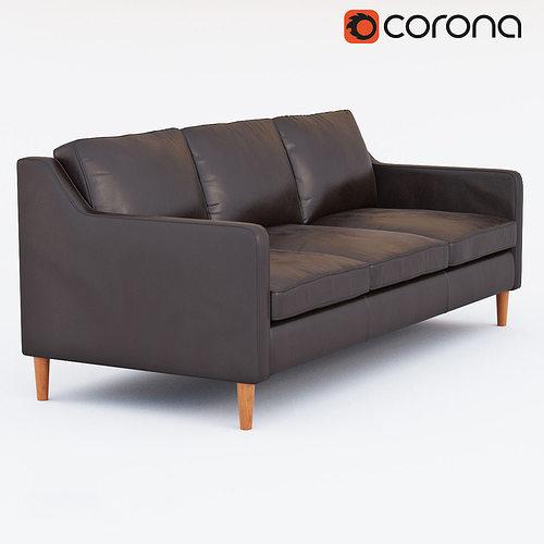 west elm hamilton leather sofa 3d model max obj mtl fbx 1