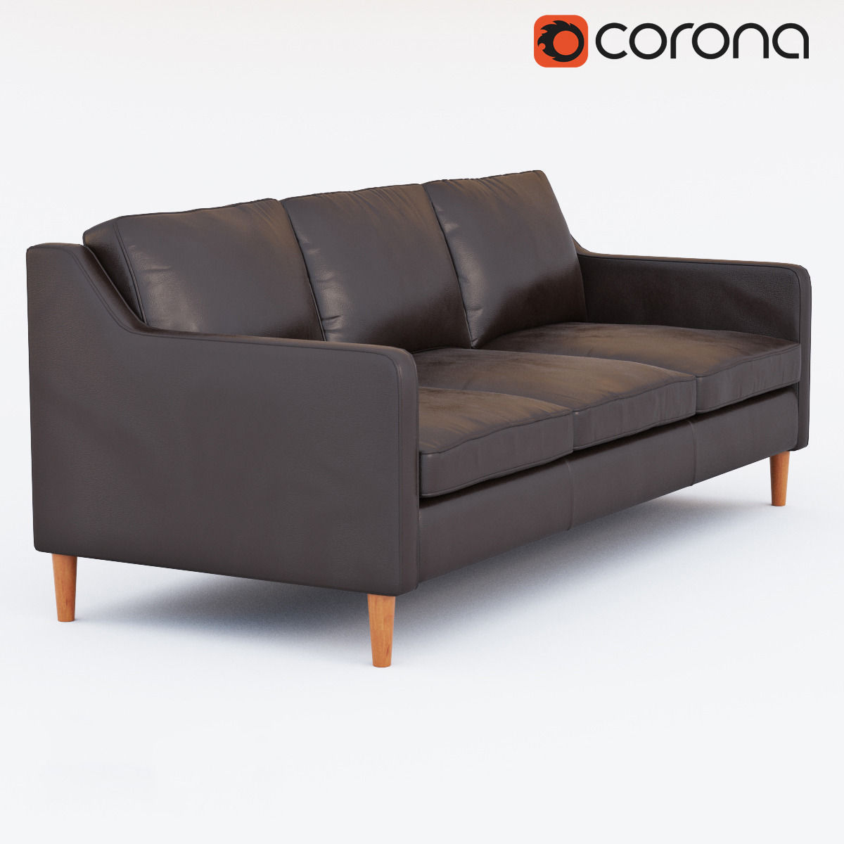 West Elm Hamilton Leather Sofa 3d Model Max Obj Fbx Mtl 1 ...