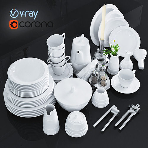 a set of dishes and kitchen appliances 3d model low-poly max obj fbx mtl 1