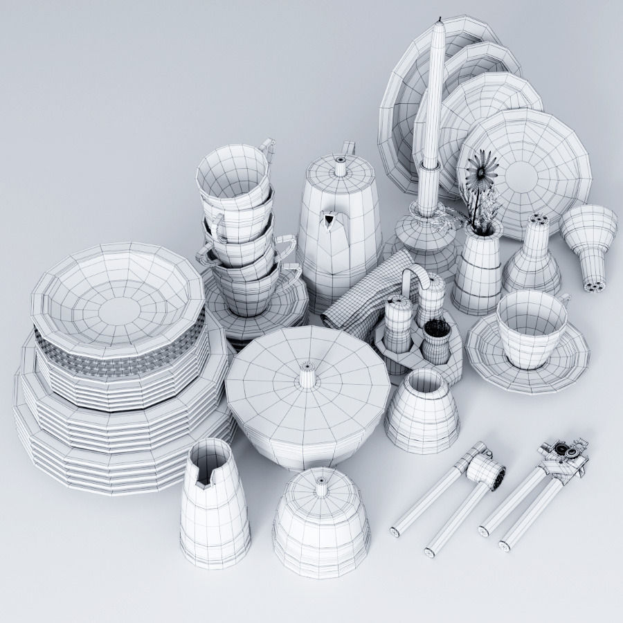A set of dishes and kitchen appliances 3D model | CGTrader