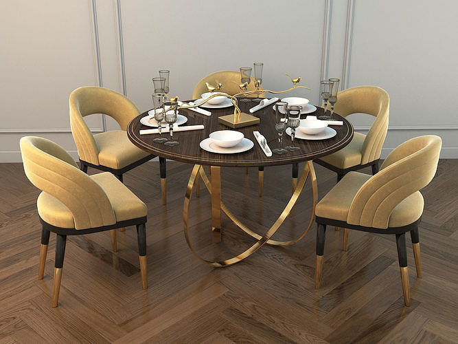 Modern Dining Table And Chair 2 3d, Modern Contemporary Dining Room Chairs