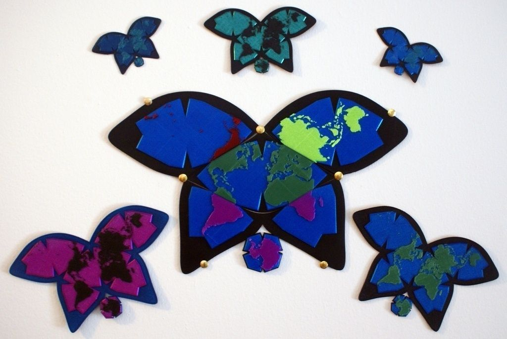 3d Print Model Butterfly World Map Four Pieces