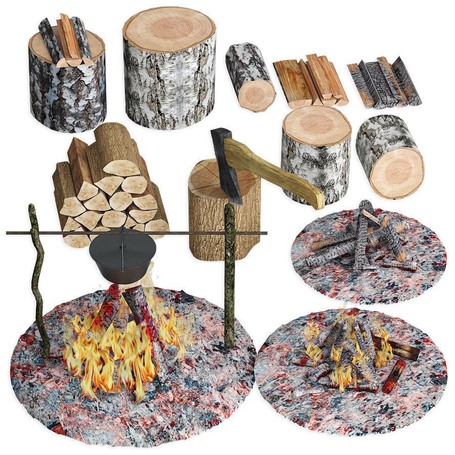 Set firewood bonfire hatchet