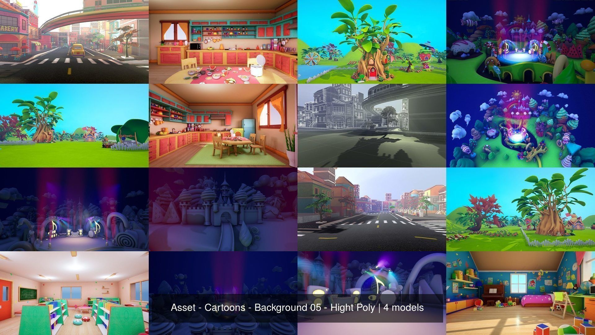 Asset - Cartoons - Background 05 - Hight Poly