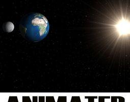 3d planets  earth moon  sun  animated