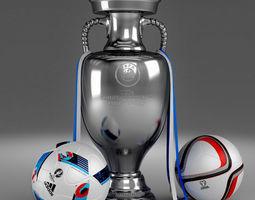 3d Model set of UEFA 2016 European Championship Cup and Balls 3D Model