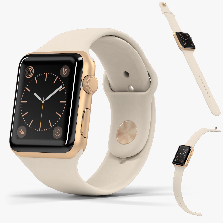 Apple Watch Gold Aluminum Case Antique White Sport Band