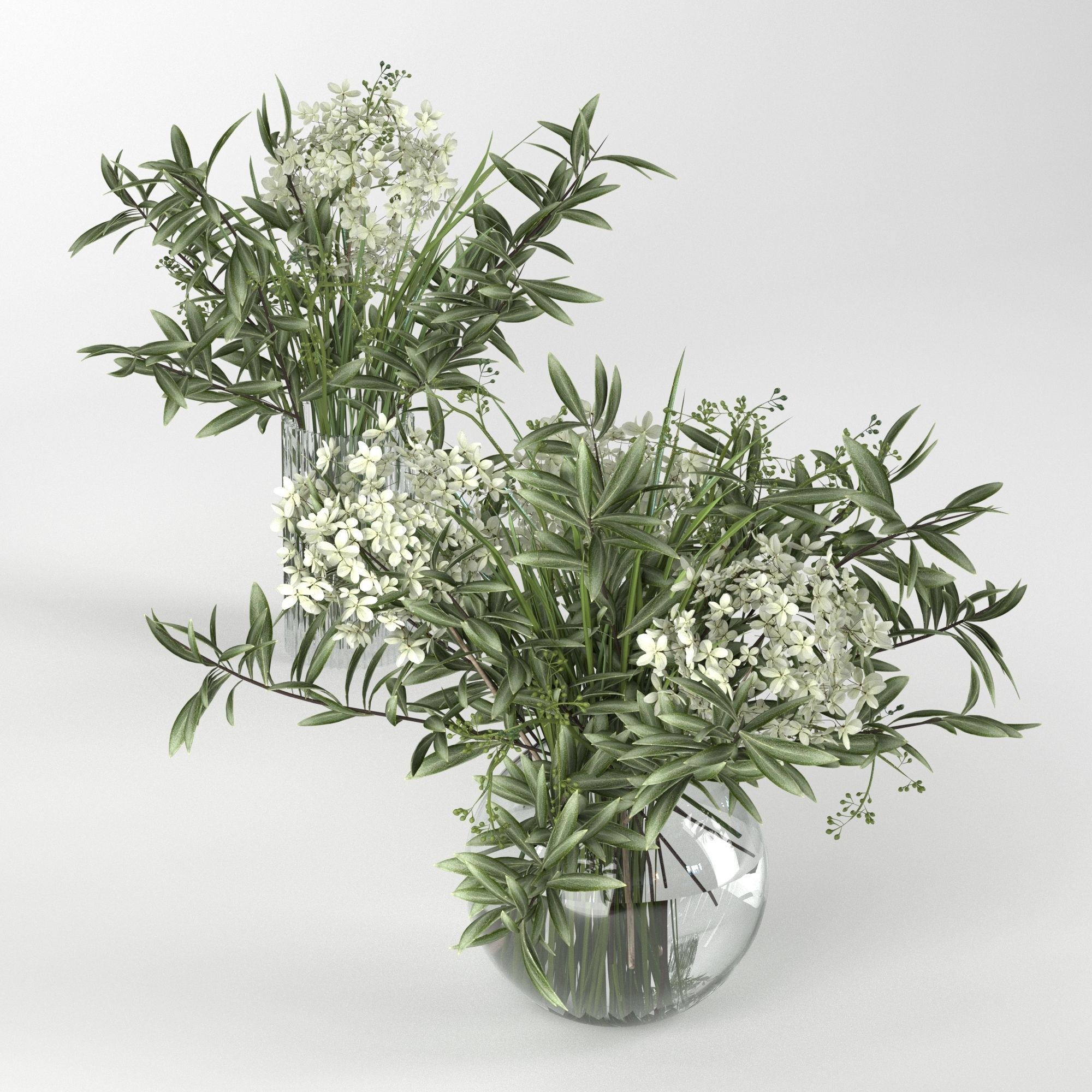 Bouquet of hydrangea olive branch and eucalyptus