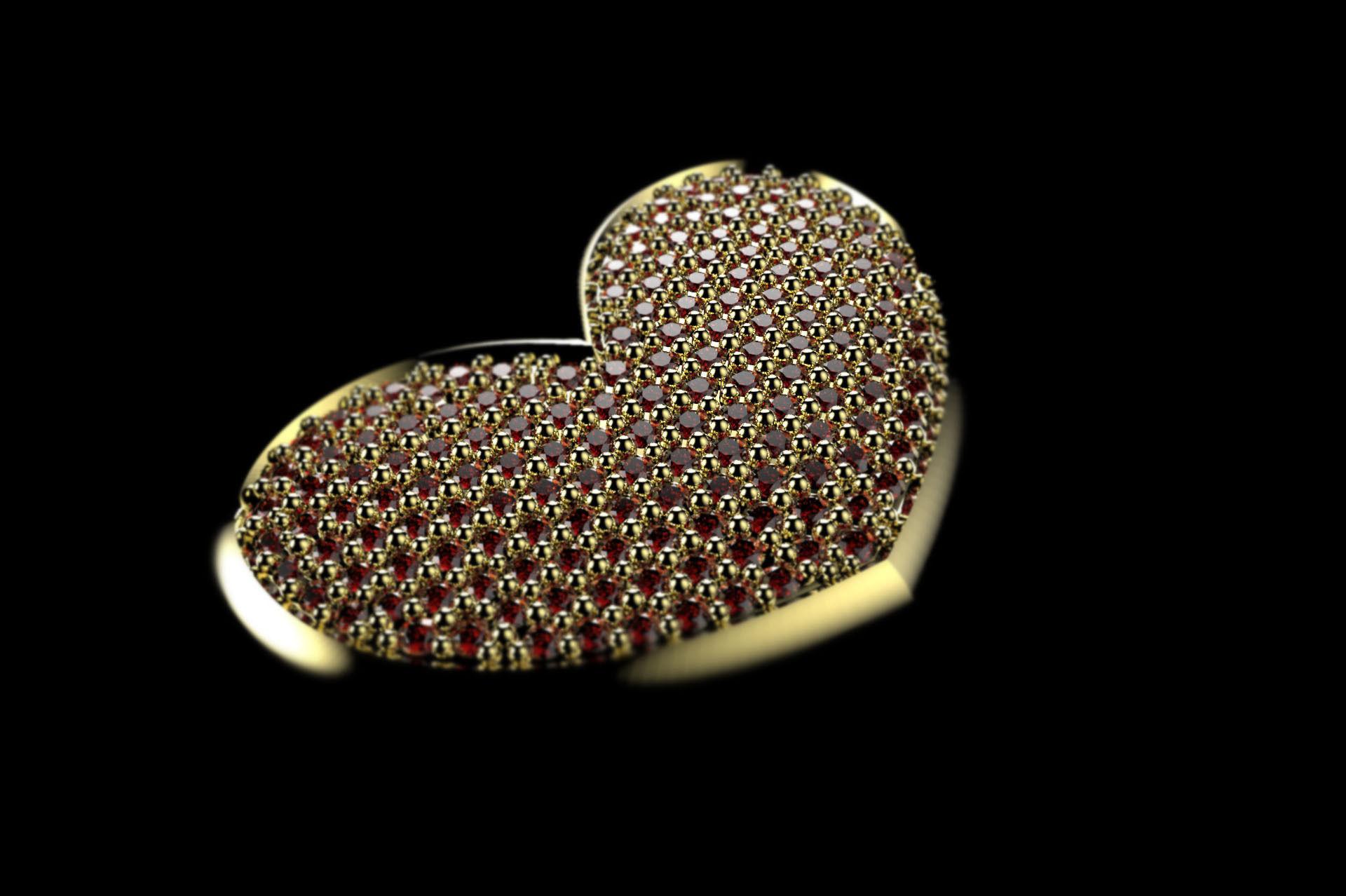 PAVE HEART PENDANT 3D Model 3D Printable STL 3DM