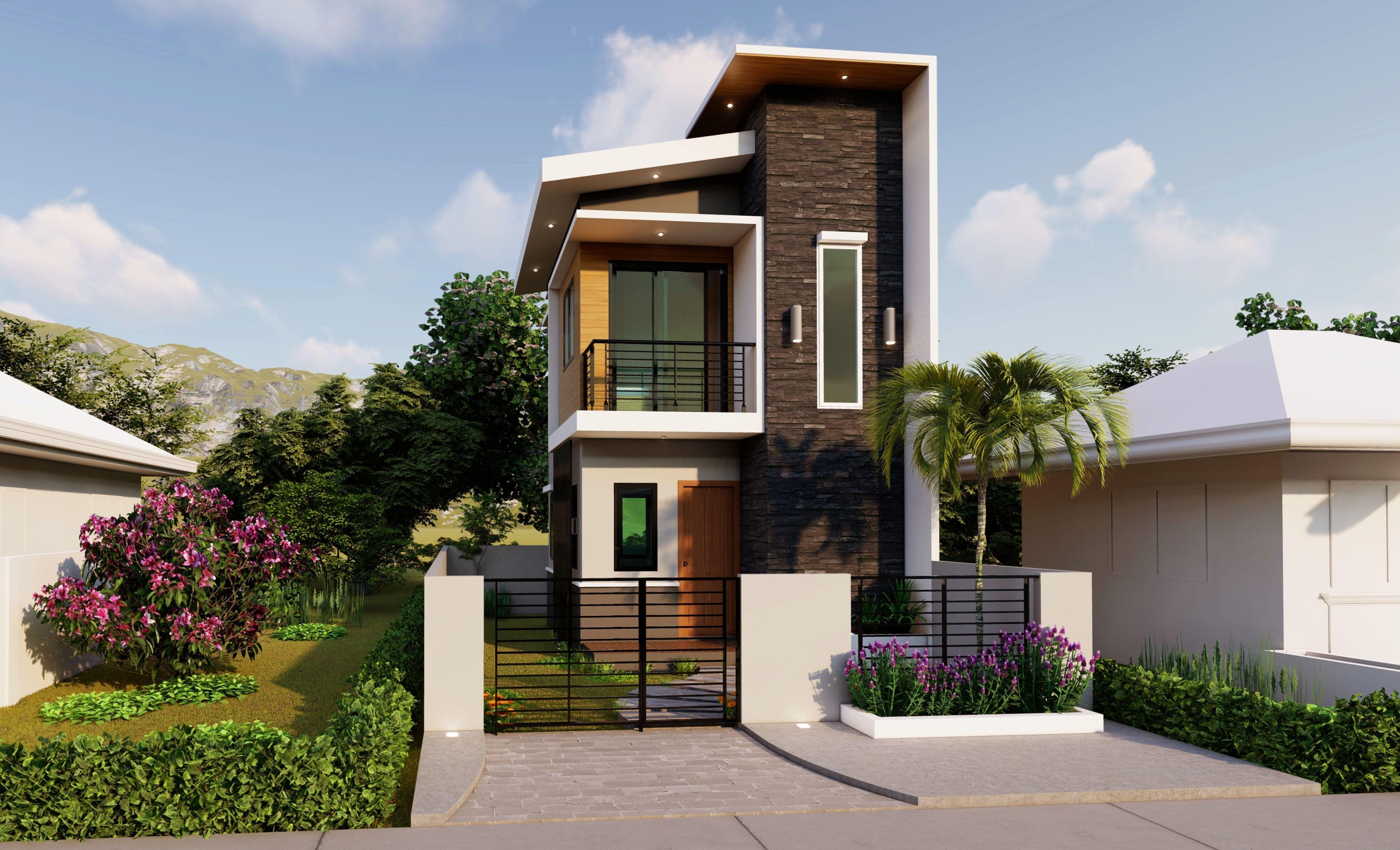 3D  model 2 STOREY HOUSE  PLAN  4X5M with Floor Plan  HD  06