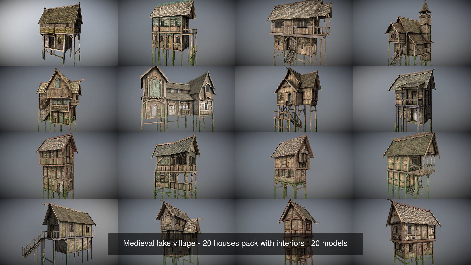 Medieval lake village - 20 houses pack with interiors