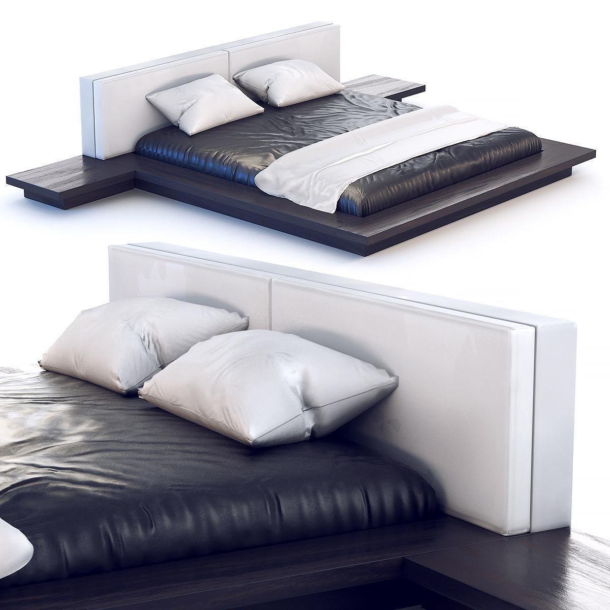 Bed 180 x 200 cm in dark wood